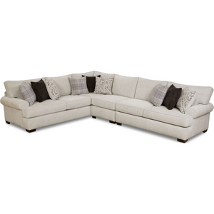 New Traditional Rolled Arm Sectional in Light Gray - HER Home Design