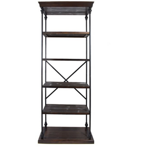 Industrial 5 Shelf Bookcase in Dark Walnut
