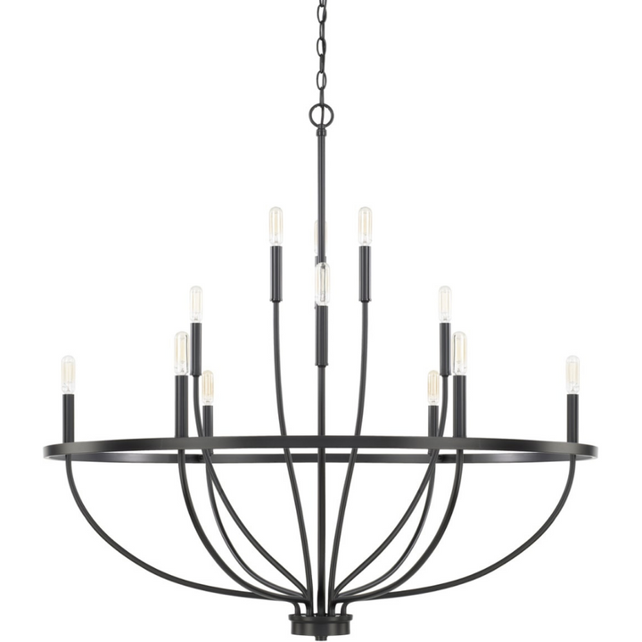 Modern Farmhouse 12 Light Taper Chandelier in Matte Black