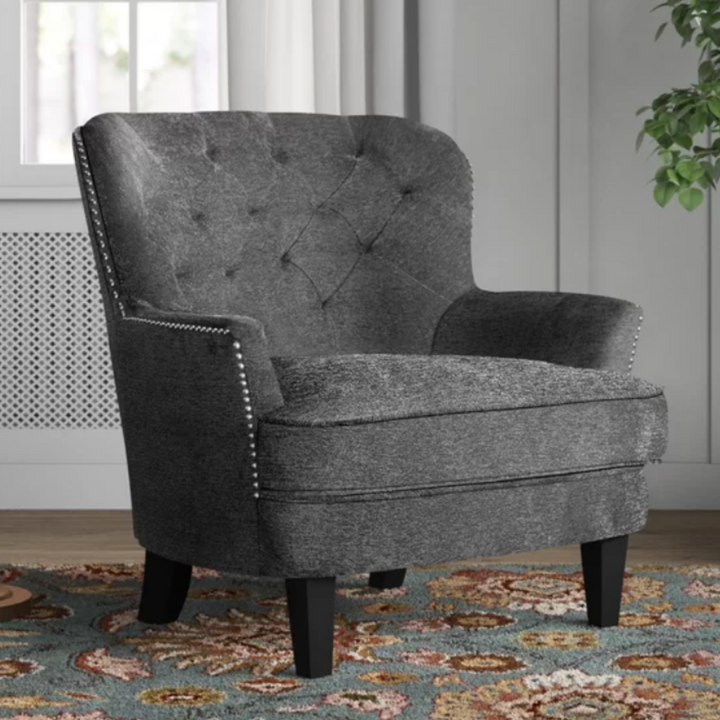 Lee Upholstered Armchair with Nailhead Trim in Dark Gray