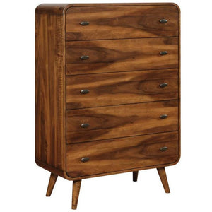 Mid-Century Modern 5-Drawer Chest in Walnut - HER Home Design
