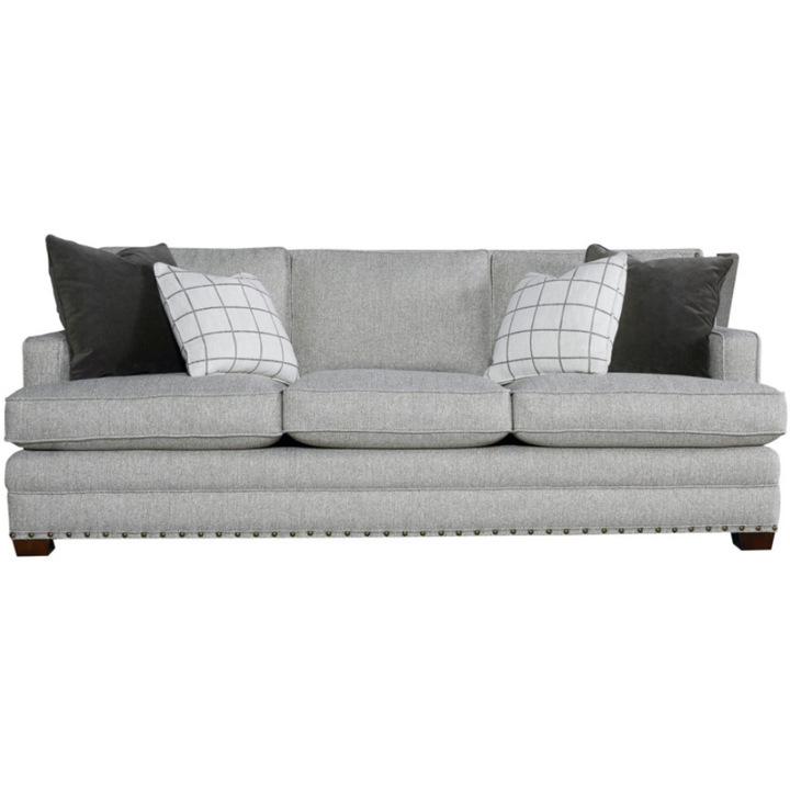 Riley Sofa with Nailheads in Gray