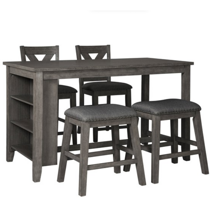 5pc Counter Height Set in Dark Grey - HER Home Design