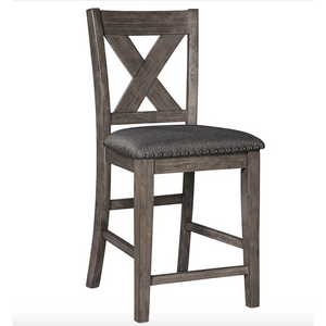 X-Back Upholstered Bar Stool in Gray (Set of 2) - HER Home Design