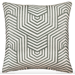 Mid-Century Modern Accent Pillow in Sage and White (Set of 2) - HER Home Design