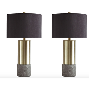 Brass and Cement Table Lamps with Black Shades (Set of 2) - HER Home Design