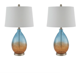 Glass Ombre Table Lamps in Amber and Aqua - HER Home Design