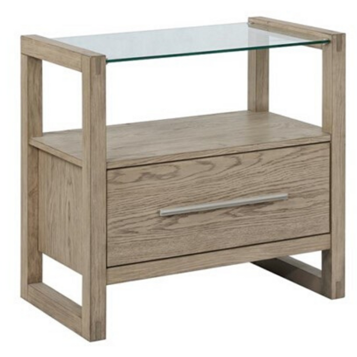Smith One-Drawer Nightstand with USB and Glass Top in Grey Oak
