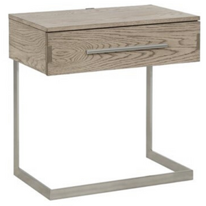 Smith Nightstand with Metal Base and USB Ports in Grey Oak