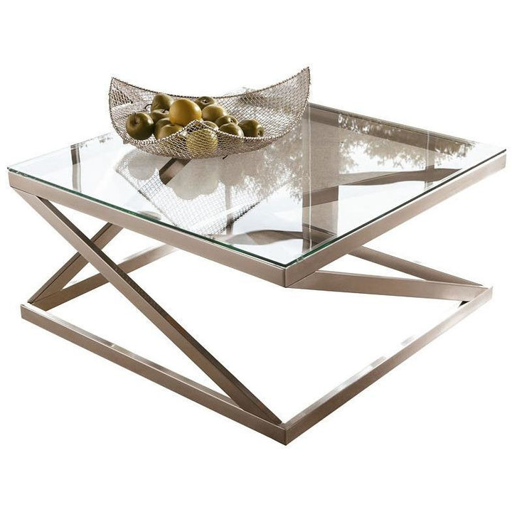Rectangle Cocktail Table in Brushed Nickel - HER Home Design