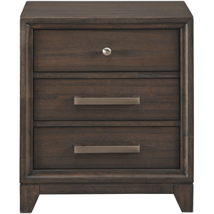 Transitional Three-Drawer Nightstand in Chestnut - HER Home Design