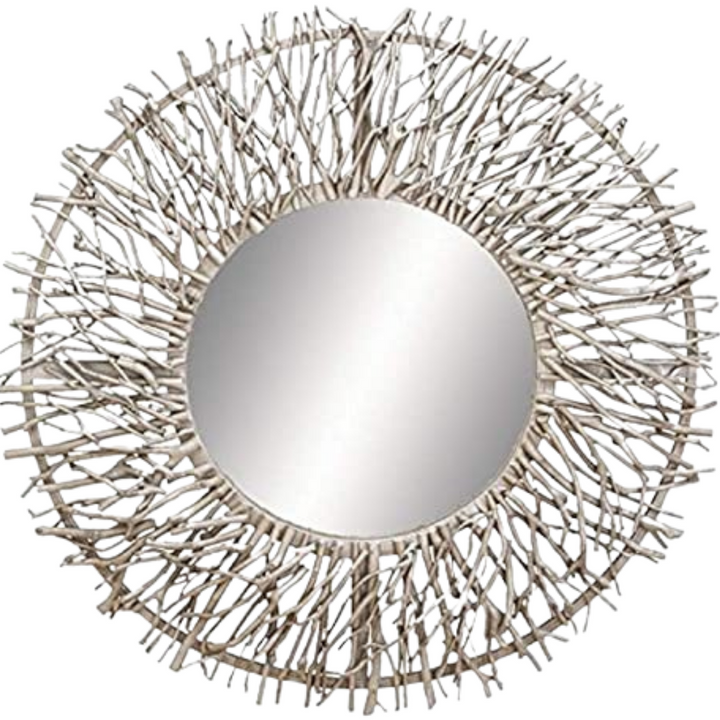 Rustic Branch Wall Mirror in Nickel Finish