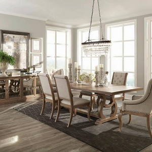 Traditional Trestle Leg Dining Table in Barley Brown - HER Home Design