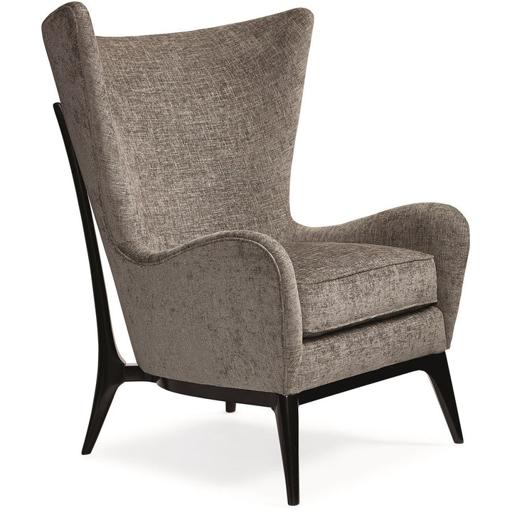 Modern Grey Upholstered Mid Century Wingback Chair - HER Home Design