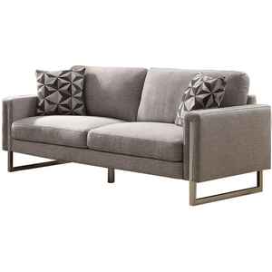 Contemporary Sofa with Chrome Legs in Gray