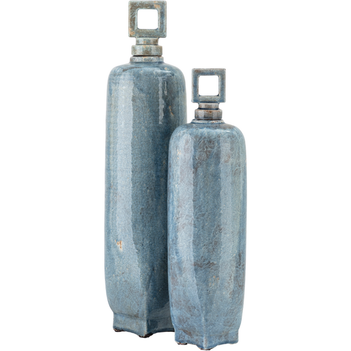 Ceramic Vases with Stoppers in Blue - Set of 2