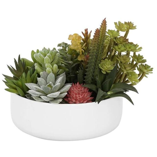 Artificial Succulent Plant Arrangement with White Ceramic Planter Pot