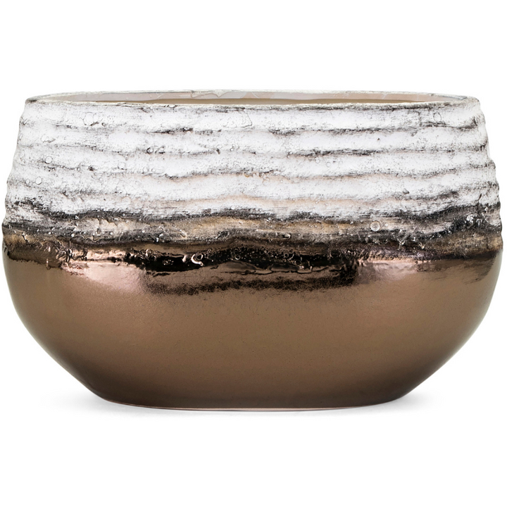 Distressed Ceramic Bowl in Metallic Copper and White