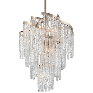 Mont Blanc 13 Light Chandelier in Silver Leaf