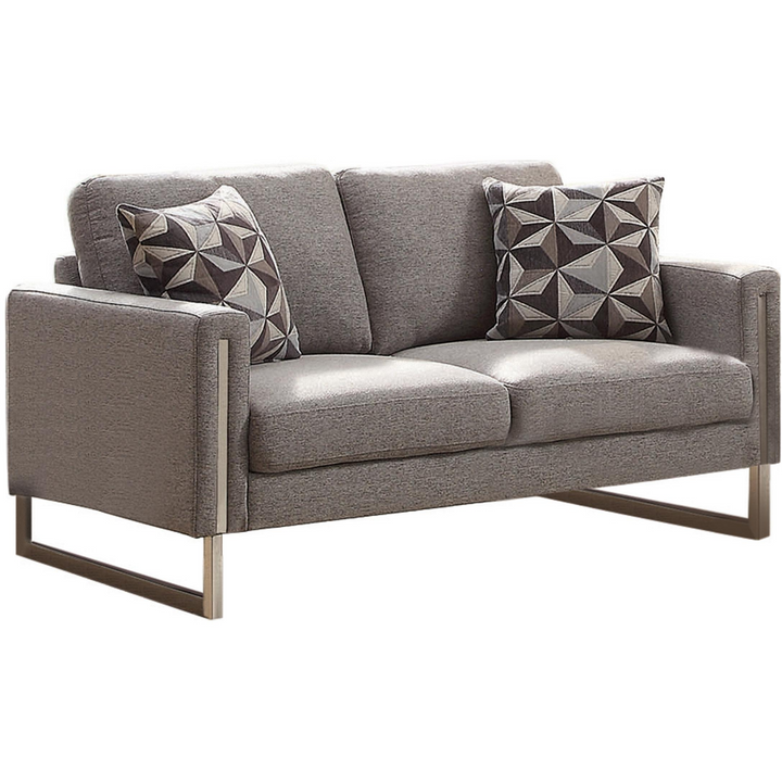 Contemporary Loveseat with Chrome Legs in Gray