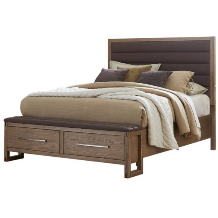 Queen Platform Bed With Storage Grey Oak