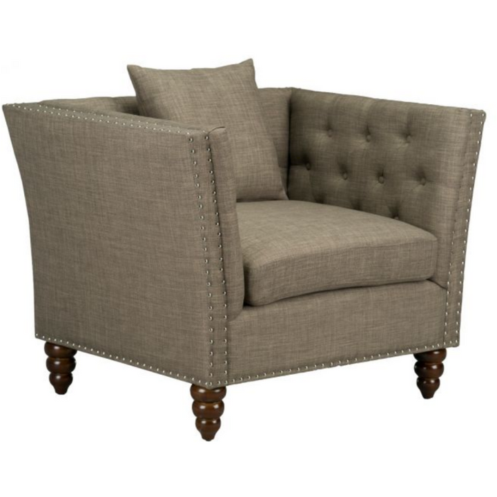 Studded Winged Accent Chair in Pebble - HER Home Design