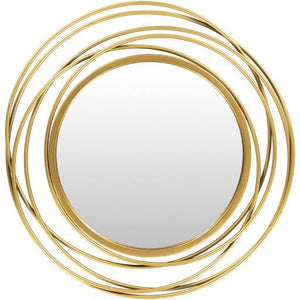 21x22 Round Mirror in Gold - HER Home Design