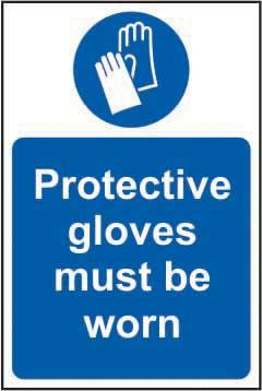 Protective gloves must be worn Sign, Self Adhesive Vinyl (200 x 300mm)