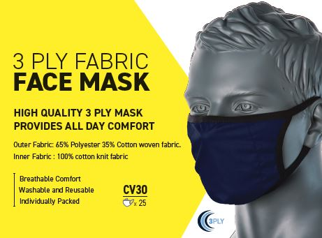 3 Ply Fabric Face Mask (Box 25)