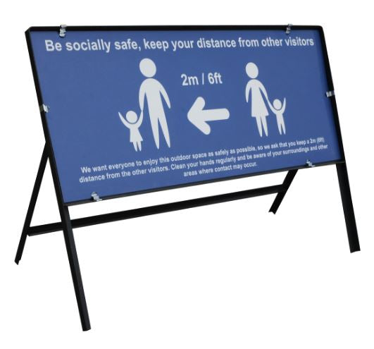 Be Socially Safe Social Distancing Temporary Sign, Blue (1050 x 450mm)