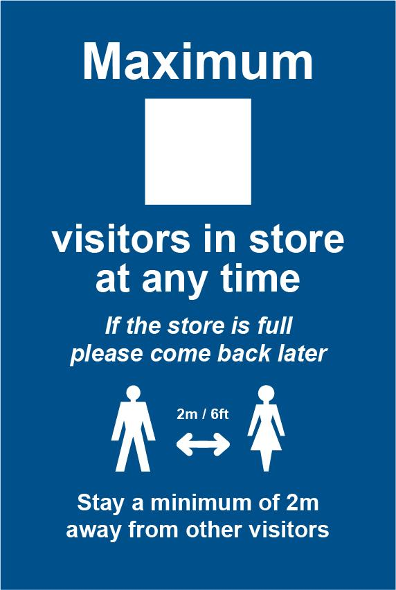 Maximum X visitors in store - RPVC (200 x 300mm)
