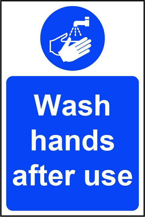 Wash Hands After Use Rigid PVC Wall Sign (200 x 300mm)