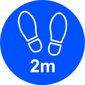 2m Apart Floor Graphic, Blue (200mm dia.)