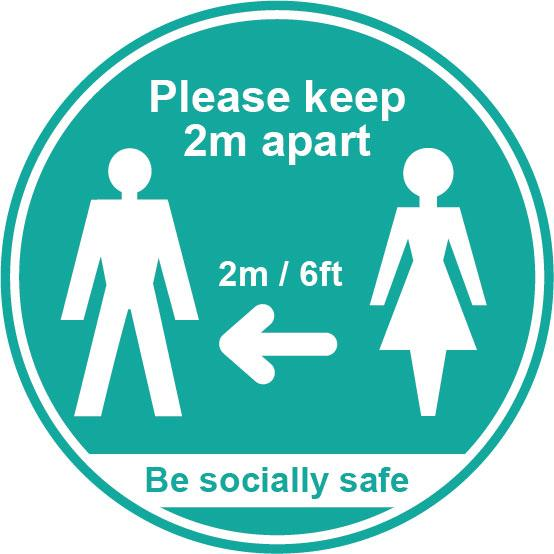 Please keep 2m apart - Turquoise SAV LAM (190mm dia.) 25 pack