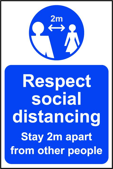 Respect Social Distancing A Board (Blue)