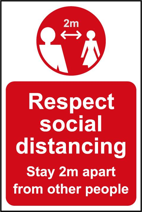Respect Social Distancing A Board (Red)