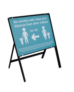 Be Socially Safe Social Distancing Temporary Sign, Turquoise (600 x 450mm)