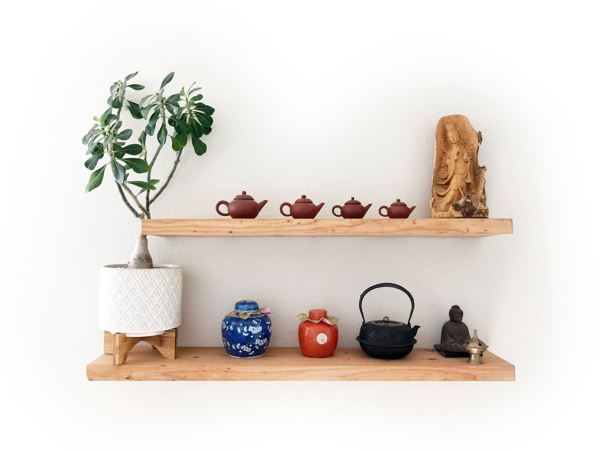 Rooted Rooms Floating Shelves with Teaware
