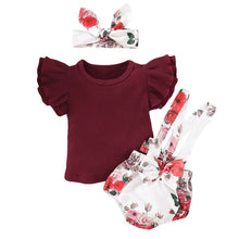 Load image into Gallery viewer, Short Sleeve Shirt with Floral Overalls and Headband