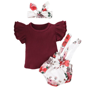 Short Sleeve Shirt with Floral Overalls and Headband