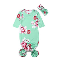 Load image into Gallery viewer, Floral Swaddle Set with Headband