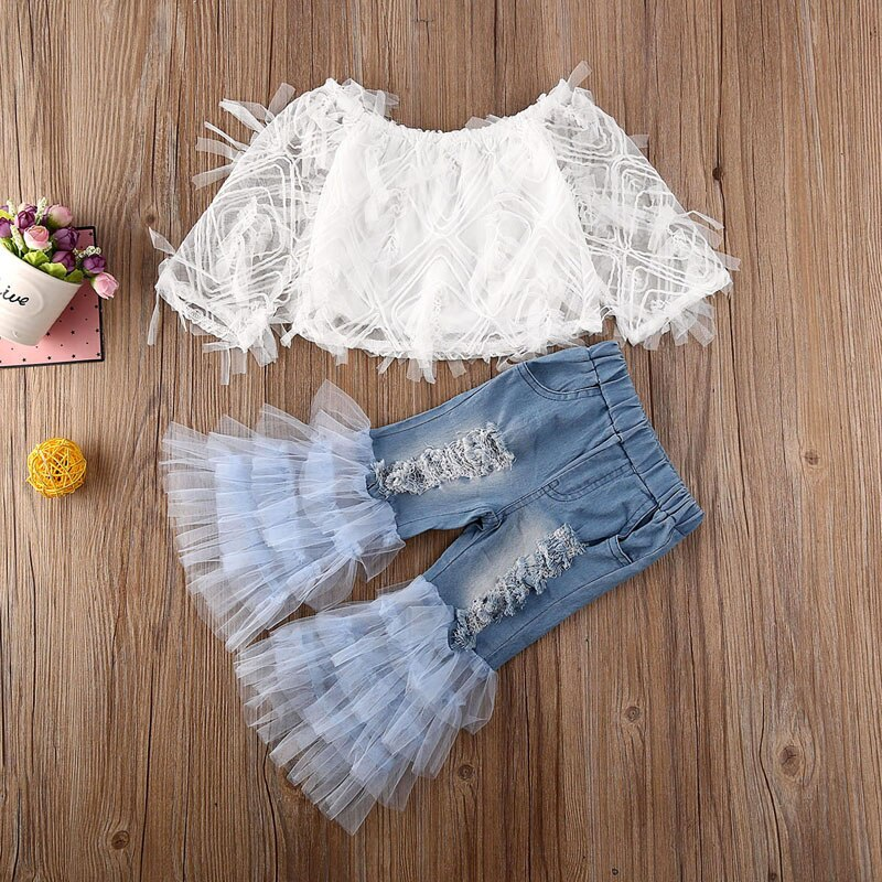 Lace Top with Ruffle Denim Pants