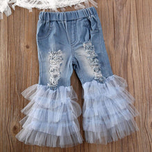 Load image into Gallery viewer, Lace Top with Ruffle Denim Pants
