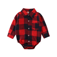 Load image into Gallery viewer, Plaid Collared Onesie