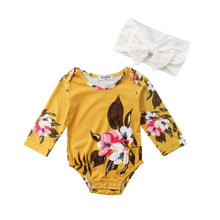 Load image into Gallery viewer, Yellow Floral Romper with Headband