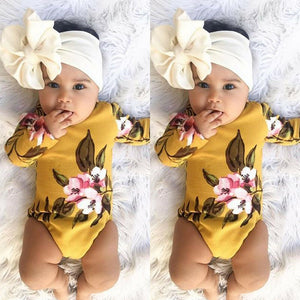 Yellow Floral Romper with Headband