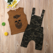 Load image into Gallery viewer, Sleeveless Shirt with Camo Overalls