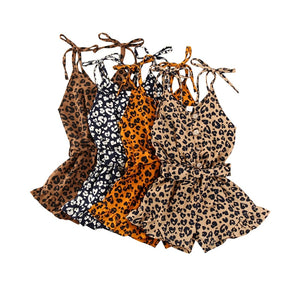 Sleveless Leopard Rompers