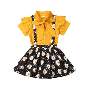Bowknot Shirt with Flower Skirt