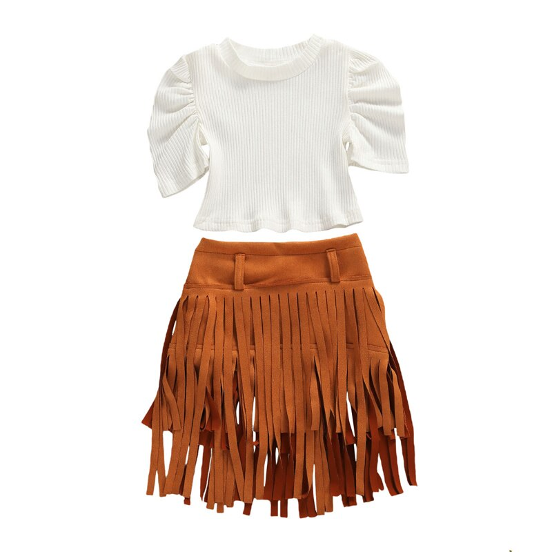 Puff Sleeve Shirt with Tassel Skirt
